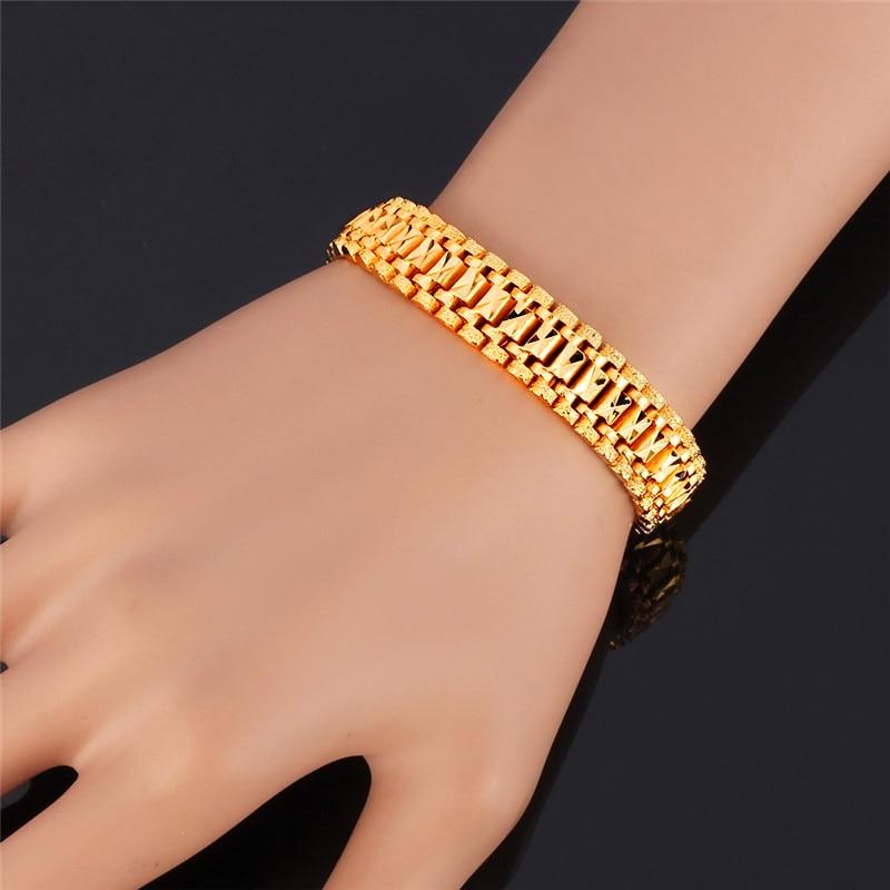 U7 Mens Bracelet Punk Rock Style Black/Silver/Gold Color Big Wide Chunky Chain Link Bracelets Meditation Men Jewelry Gift H550 2