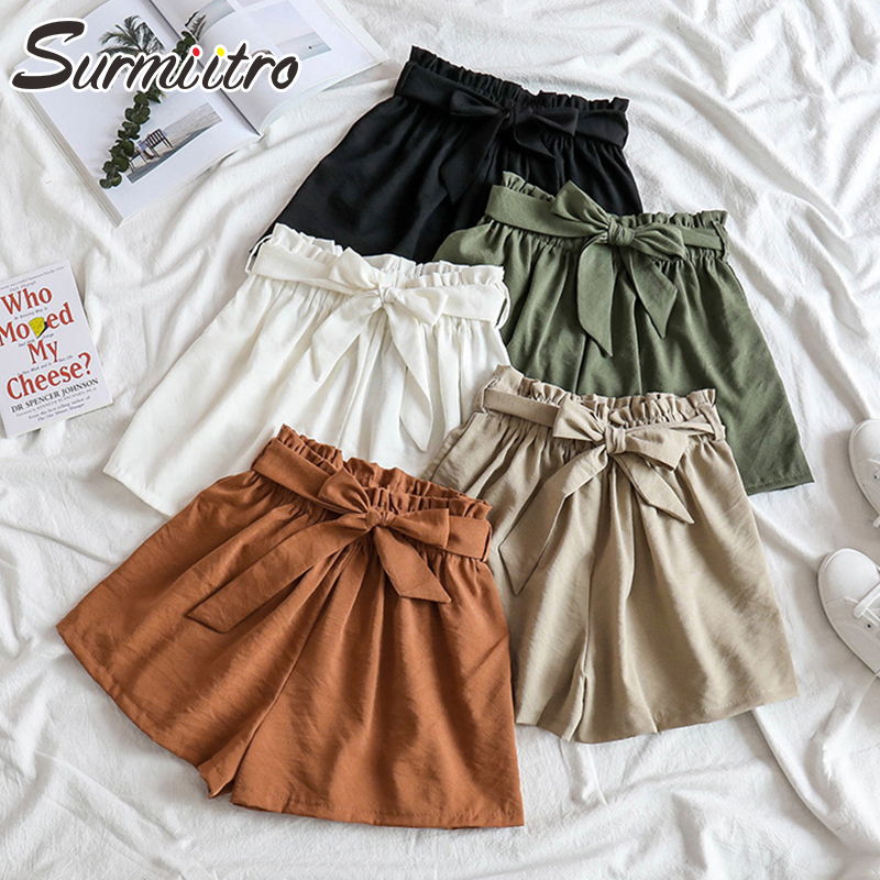 Surmiitro Korean Summer Shorts Women 2020 Fashion Ladies Casual Lace Up High Waist Wide Leg Shorts Female With Blet