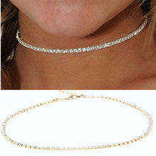x186 Europe and United 1 Units States Women's Thin Metal Choker Necklaces Shining Gold-color Chain Necklaces Wholesale Hot Sale(China)