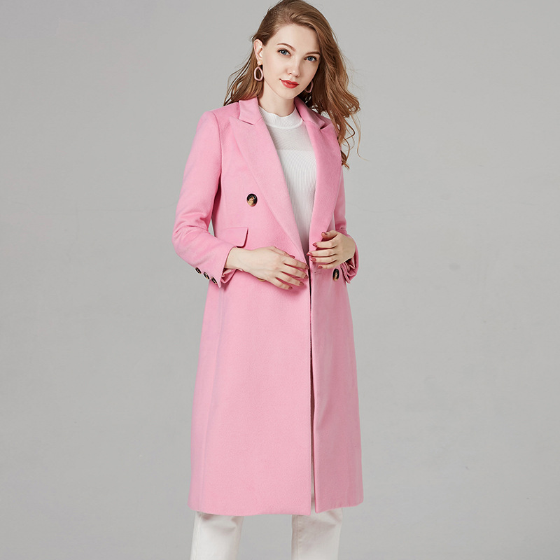 ACRMRAC Women Long sleeves Long section Slim PINK Office Lady Wool Blends Woolen coat jacket 6025