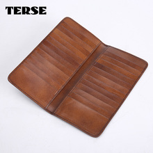 TERSE_5 MOQ Italian calfskin genuine leather mens card holder tobacco/ burgundy credit card wallet for male purse custom service