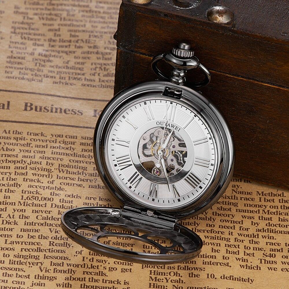 Permalink to OYW Brand Man Mechanical Pocket Watch Skeleton Pendant Watch Men Male Pocket fob Watch Steampunk Black Steel Case Clock Relogios