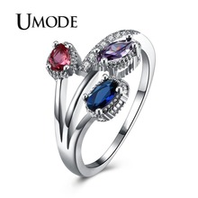 UMODE 2018 New Fashion Water Drop Red Blue Purple Triple CZ Crystal Ring for Women White Gold Jewelry Paved Zircon Rings AUR0440