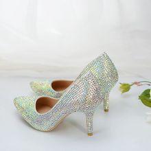 66bdaeb7f Novo design da marca sparking prata shinny cristal strass sapatos de  casamento mulher NQ035 8 cm