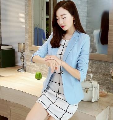 J63236 Korean Style Women Blazer Short Suit Jacket Long Sleeve One Button Slim Fit Business Suit