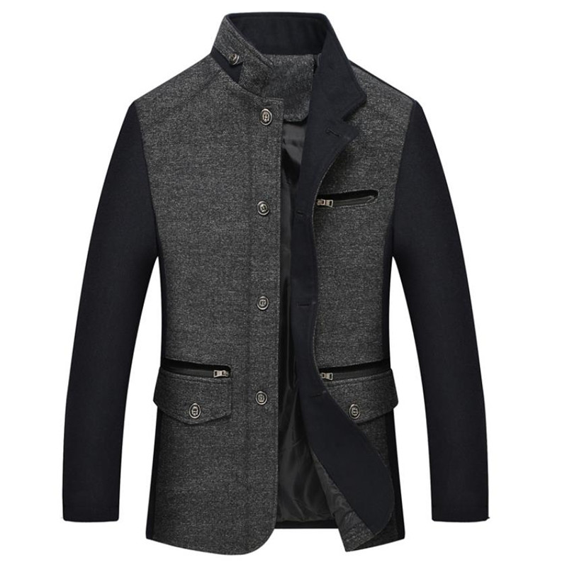 2018 Autumn and winter new men's woolen coat business casual stand collar stitching collar design jacket Overcoat