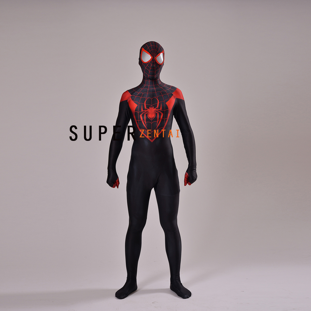 3D Printing Ultimate Miles Morales Spider-Man Costume fullbody hot sale halloween Spiderman Cosplay suit free shipping