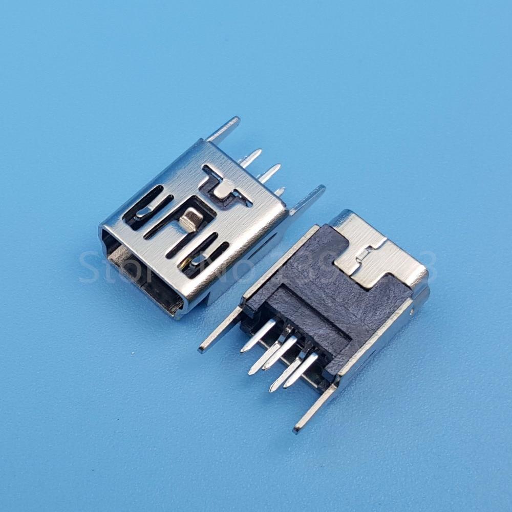 100pcs mini usb type b 5pin female straight socket pcb