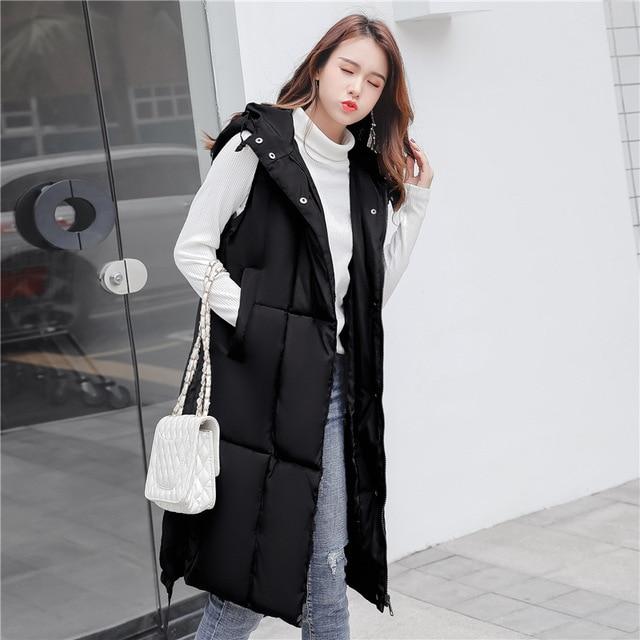 Voobuyla Plus Size 5XL Long Vest Women Sleeveless Jacket Down Cotton Warm Vest Mujer 2018 Autumn Winter Hoodies Waistcoat Female 3