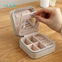 Christmas gift Portable travel jewelry case PU Leather Jewelry Box Makeup organizer Cosmetic box With Mirror earring Ring holder