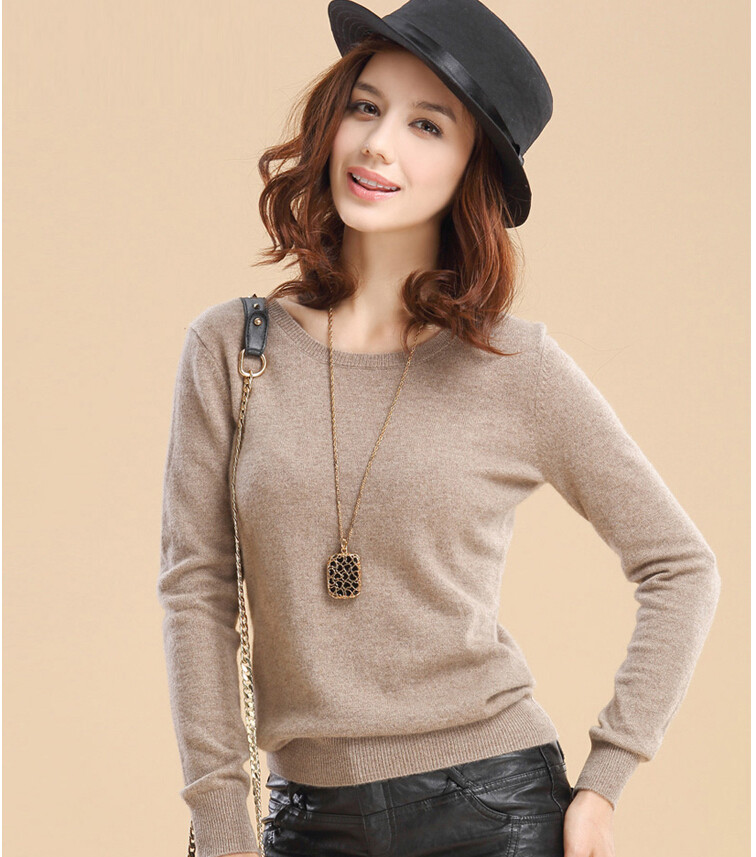 10 color Top Clothing women/Ladies Wool Sweater Female round neck Pullover Knit Cashmere Wool long sleeve korean plus size