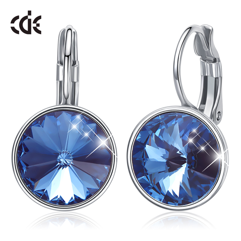 CDE Women Drop Earrings Embellished With Crystals From Swarovski Round Charm Drop Earrings Popular Romantic Fine Jewelry Gifts