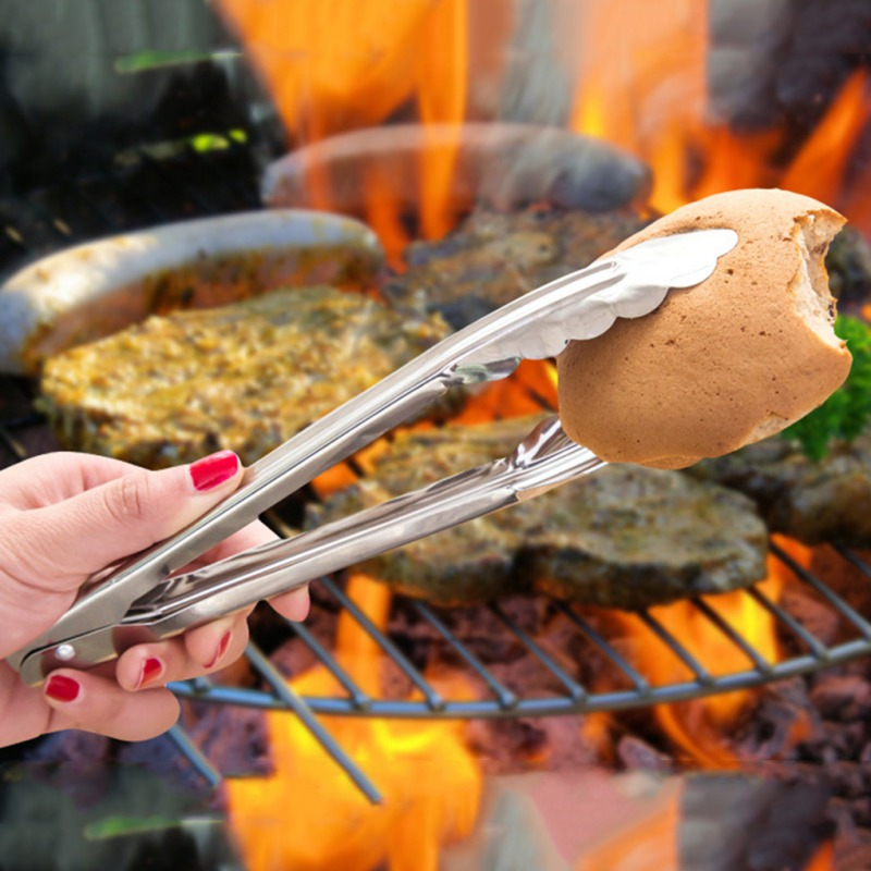 Stainless Steel Food Clip barbecue Tongs Bread Heat Resistance Non slip Barbecue Easy Grip Food Clip in Tongs from Home Garden