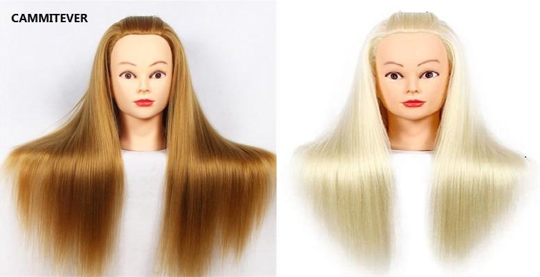 CAMMITEVER 2 Pz Blonde & Golden Teste di Manichino Formazione Testa Capelli 2 Colori Stile Manichino Bambola Cosmetologia Pratica Teste