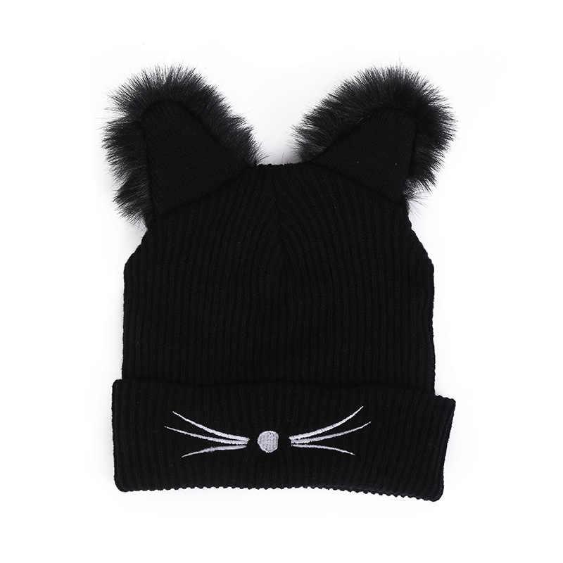 หมวกฤดูหนาวสำหรับผู้หญิงแมวหู Faux Fur Pompom Mink หมวก Harajuku หมวกถักแฟชั่นผู้หญิง Skullies Beanies Lovely Crochet หมวก