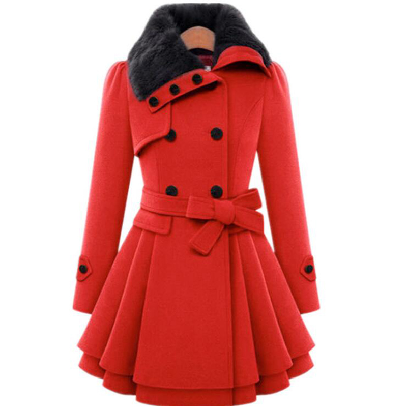 Winter Coat Women   Trench   Women's Coat 2018 Brand Woolen Coat Double Breasted Long Sleeve Belt Red Slim Womens Khaki   Trench   Coat