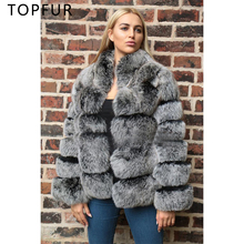 TOPFUR 2019 New Natural Fox Fur Jacket Women Winter Coat Fashion Luxury Real With Stand Collar