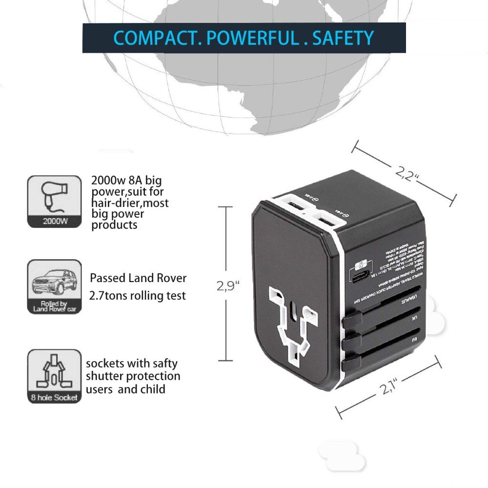Image 5 - Rdxone Universal Travel Adaptor All in one Power Adapter wall Electric Plugs Sockets for Mobile Phone, Tablet, Camera, Laptop-in International Plug Adaptor from Consumer Electronics