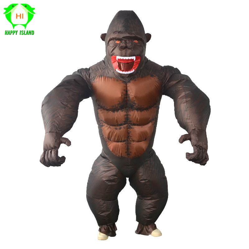 Costume gonflable orang-outan roi Kong Cosplay costume mascotte Animal singe pour Halloween pourim carnaval déguisement adulte enfant