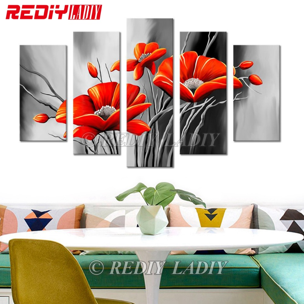 REDIY LADIY Diamond Painting Triptych Diamond Embroidery Crystal Modular Picture Poppies Flowers Mosaic Multi Pictures Wall Art