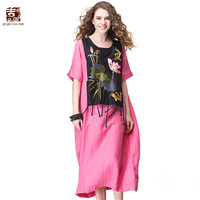 Jiqiuguer Для женщин Винтаж кисточкой лоскутное льняные платья О образным вырезом Половина рукава Цветы Вышивка черный, красный желтый платье