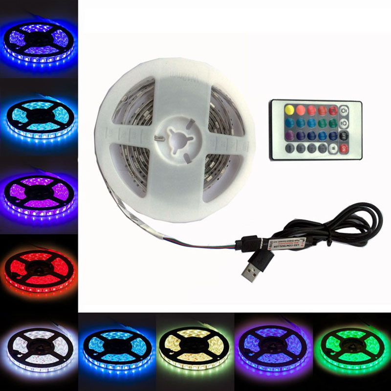 1/2M USB RGB Waterproof Led Strip Light IP65 DC5V Battery Operated Diode Tape SMD5050 30Chips/M TV Led Light Home Decor Ledstrip