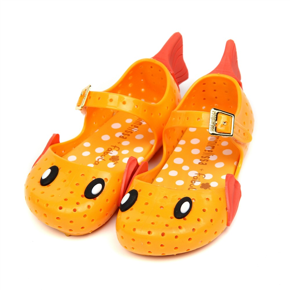 Mini Melissa Girl Sandals flying fish wings 2017 Summer Sandals Rain Shoes Melissa Sandals Breathable Children Princess Sandals