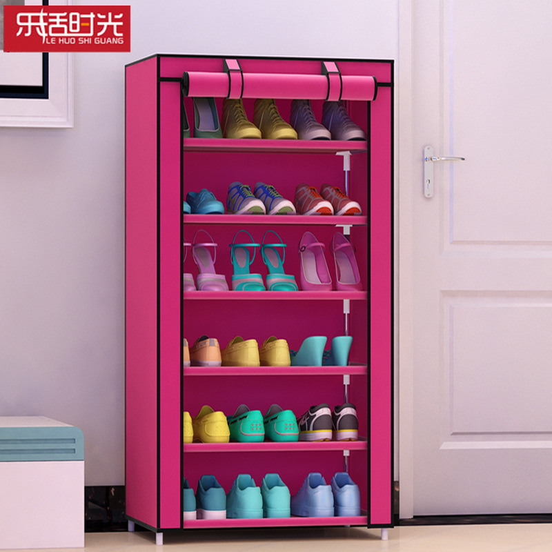 7 layers 6 girds Closet Cabinets Non woven Steel Pipe Shoes Shelf ...