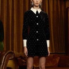 Дизайнерские женские вечерние мини-платья, подиумное осеннее черное бархатное лоскутное платье с бриллиантами, роскошное однобортное платье Vestidos