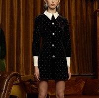 Designer women's Party Mini Dress Runway Autumn Black Velvet Patchwork Diamonds Dress Luxury Single Breasted Dress Vestidos