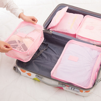 2017 6pcs Set Fashion Double Zipper Waterproof Polyester Men And Women Luggage Travel Bags Packing Cubes