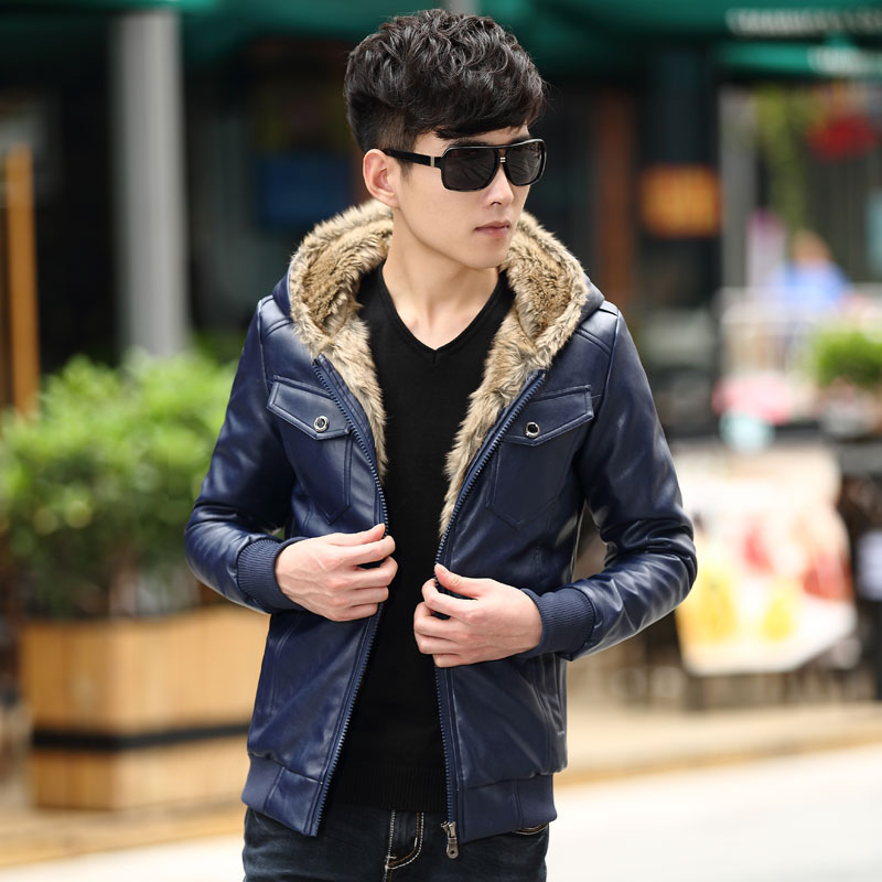 M~3XL! 2016 Motorcycle leather clothing male teenage slim velvet thickening outerwear leather jacket outerwear singer costumes 71
