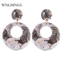 WNGMNGL 2018 Female Vintage Drop Earrings Simple Round Statement Leopard print For Women Fashion ear Jewelry Brincos