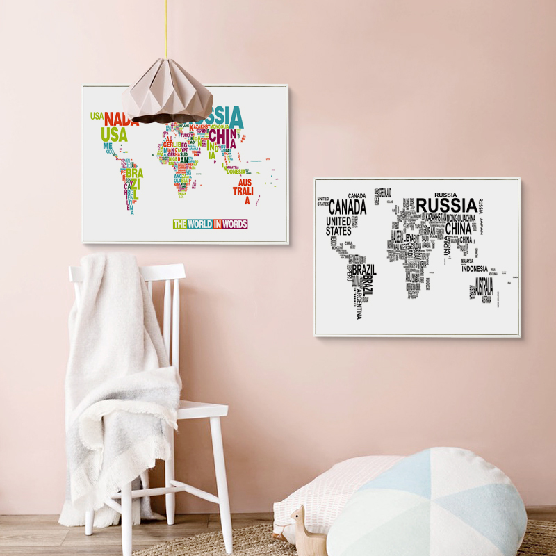 Elegant poetry english alphabet world map modern decoration canvas elegant poetry english alphabet world map modern decoration canvas painting art print poster picture paintings home wall decor in painting calligraphy gumiabroncs Image collections