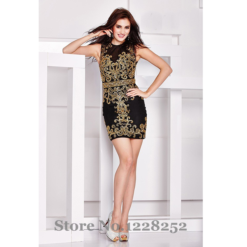 Popular Black and Gold Cocktail Dress-Buy Cheap Black and Gold ...