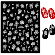 цены на Newest CC-63 transparent flower 3d nail art manicure back glue decal decoration design nail stickers for nail tips beauty  в интернет-магазинах