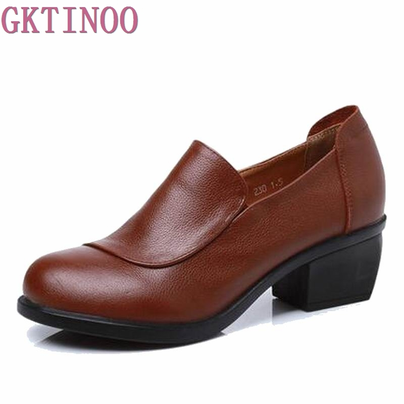 2018 New spring genuine leather pumps heel women single shoes women's casual shoes female pumps leisure shoes soft mother shoes aiyuqi 2018 spring new genuine leather women shoes shallow mouth casual shoes plus size 41 42 43 mother shoes female page 5