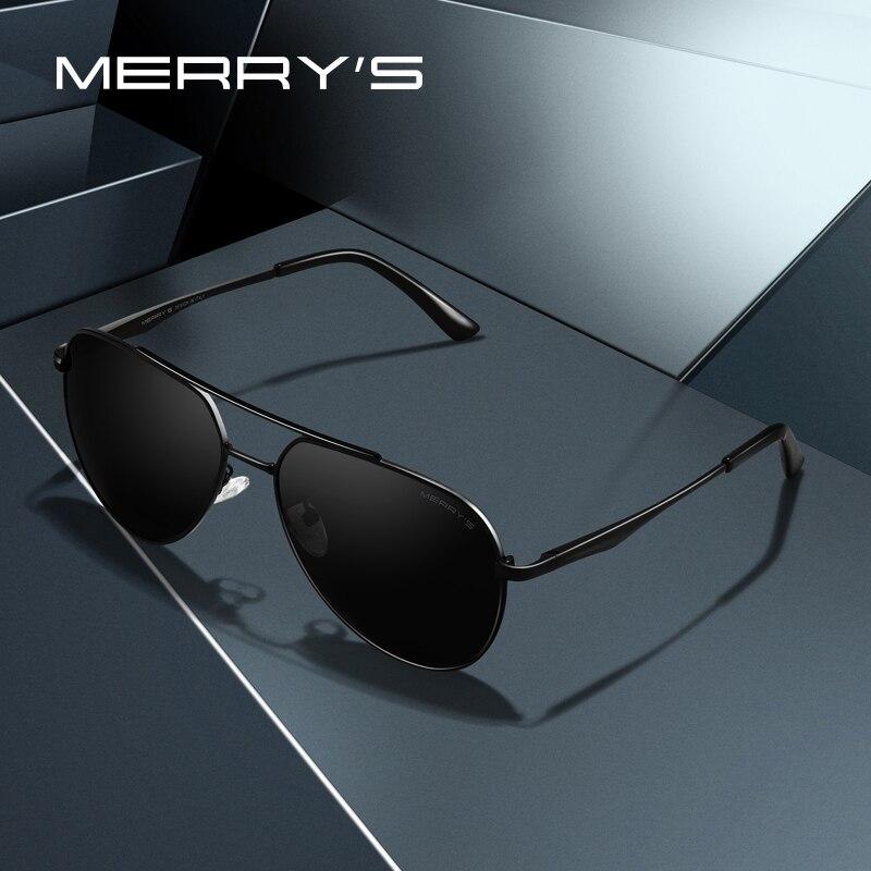 MERRYS diseño hombres clásico piloto gafas de sol de Marco polarizadas HD de moda gafas de sol para conducir UV400 protección S8316N