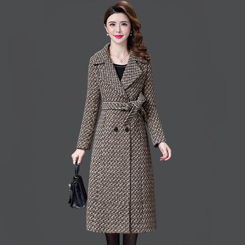 L 5XL New Women s Wool Coat Winter Autumn 2019 Fashion Plaid Jacket Lacing Belt Thicken