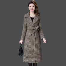 L-5XL New Women's Wool Coat Winter Autumn 2019 Fashion Plaid Jacket Lacing Belt Thicken Slim Woolen Blends Tops Outerwear Female new women wool blends long coat autumn winter 2019 fashion sashes woolen jacket slim outerwear female