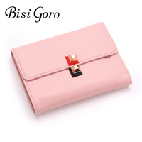 Bisi Goro Women Small Wallets 2017 Short Money Wallets Genuine Leather Lady Preppy Style Coin Pocket