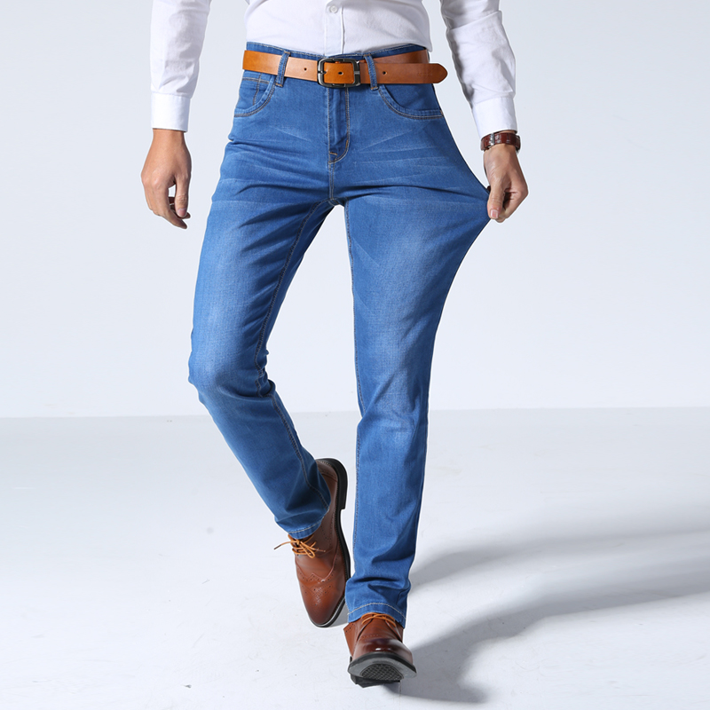 2018 Summer New Mens Thin Light Jeans Business Casual Stretch Slim Denim Jeans Light Blue Trousers Male Brand Pants Plus Size