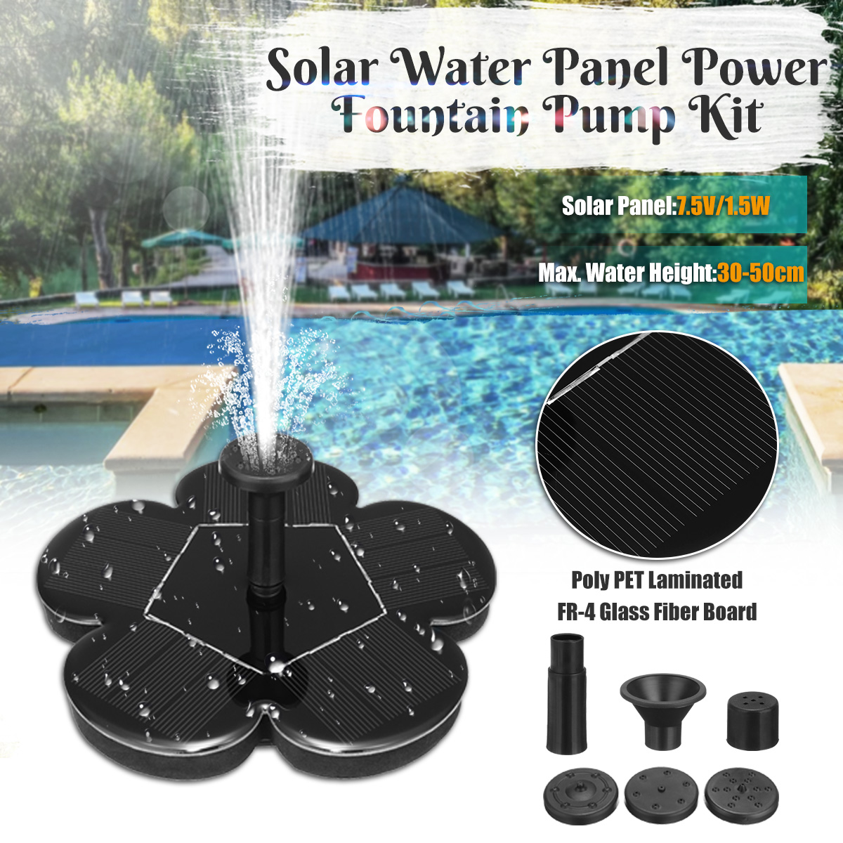 Submersible Pumps Brushless Solar Water Pump 7.5V 1.5W Mono Solar Panel Outdoor Mini Solar Water Fountain Pump For Garden dc brushless solar water pump 70m solar water pump for fountain garden pond 24v solar mini water pump solar cell water pump