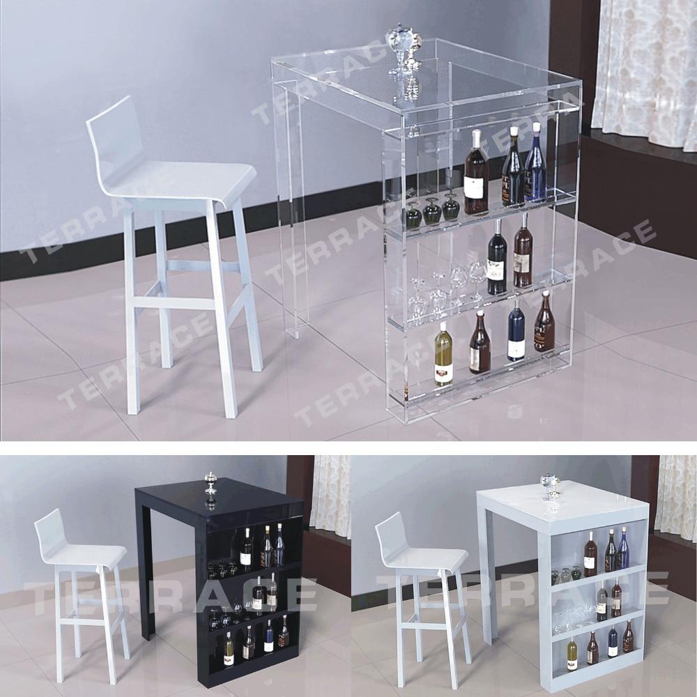 Acrylic Pub Mini Bar Table With Storage Wine Bottle Rack