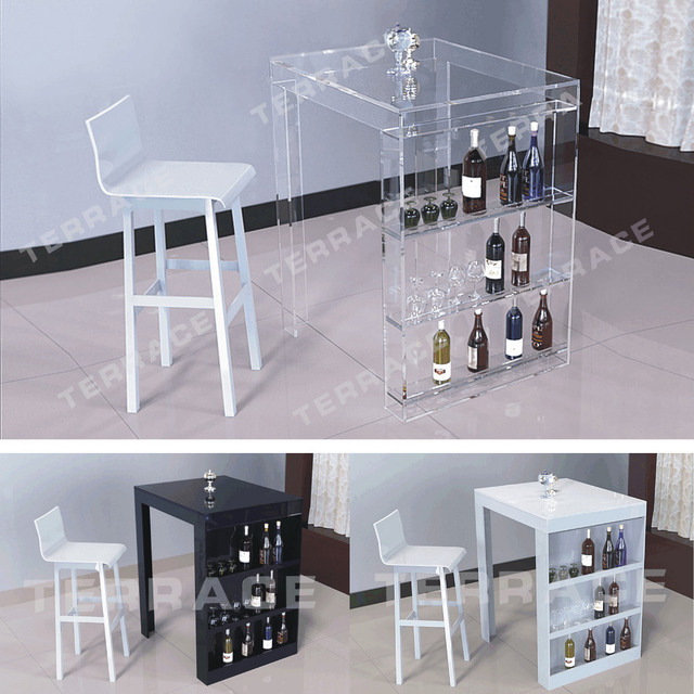 Acrylic Pub Mini Bar Table With Storage Wine Bottle Rack Perfect For Small Living Room