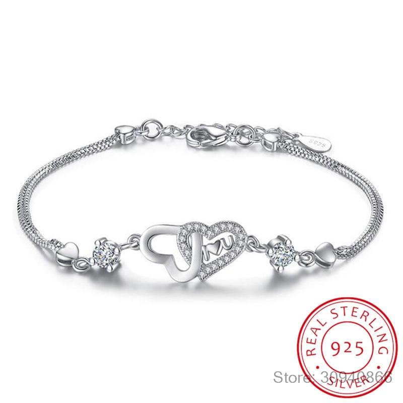 925 Sterling Silver Eternal Love Heart Zirconia Double Layer Chain Bracelet For Women Pulseira Feminina S-B47