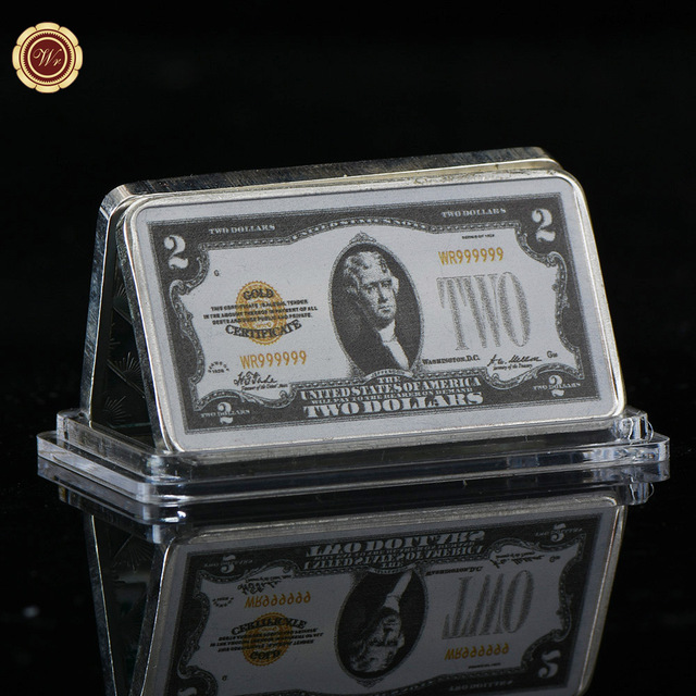 Wr Usd 2 American World Paper Money Silver Bar 24k 999 9 Plated Fake Bars Value Home Decor And Collection
