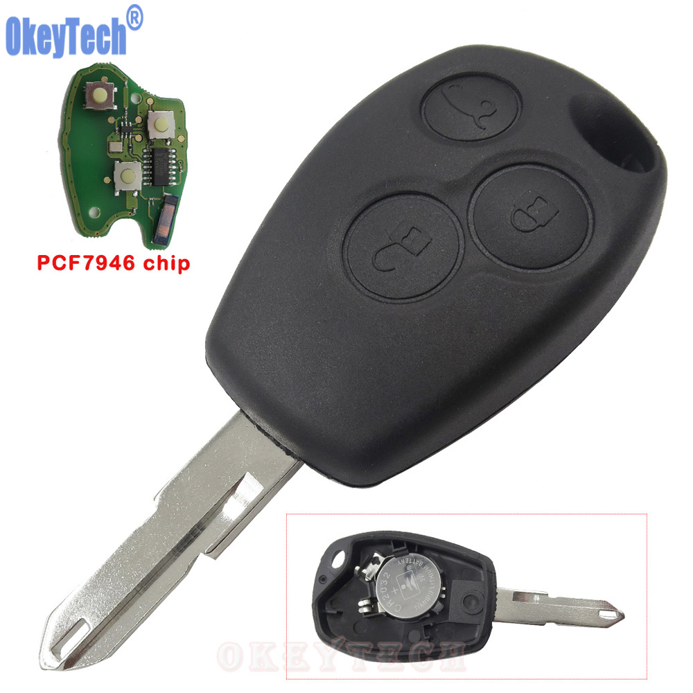 OkeyTech Remote Car <font><b>Key</b></font> PCF7946 Chip 433MHZ 3 Buttons for Renault Duster Fluence Clio Vivaro Master Traffic Kangoo Megane Laguna