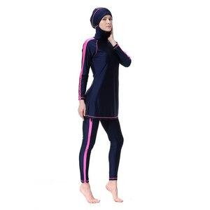 Image 2 - YONGSEN maillot de bain femmes, maillot de bain Hijab, grande taille, islamique, arabe, Patchwork, musulman couverture complète, maillot de bain musulman