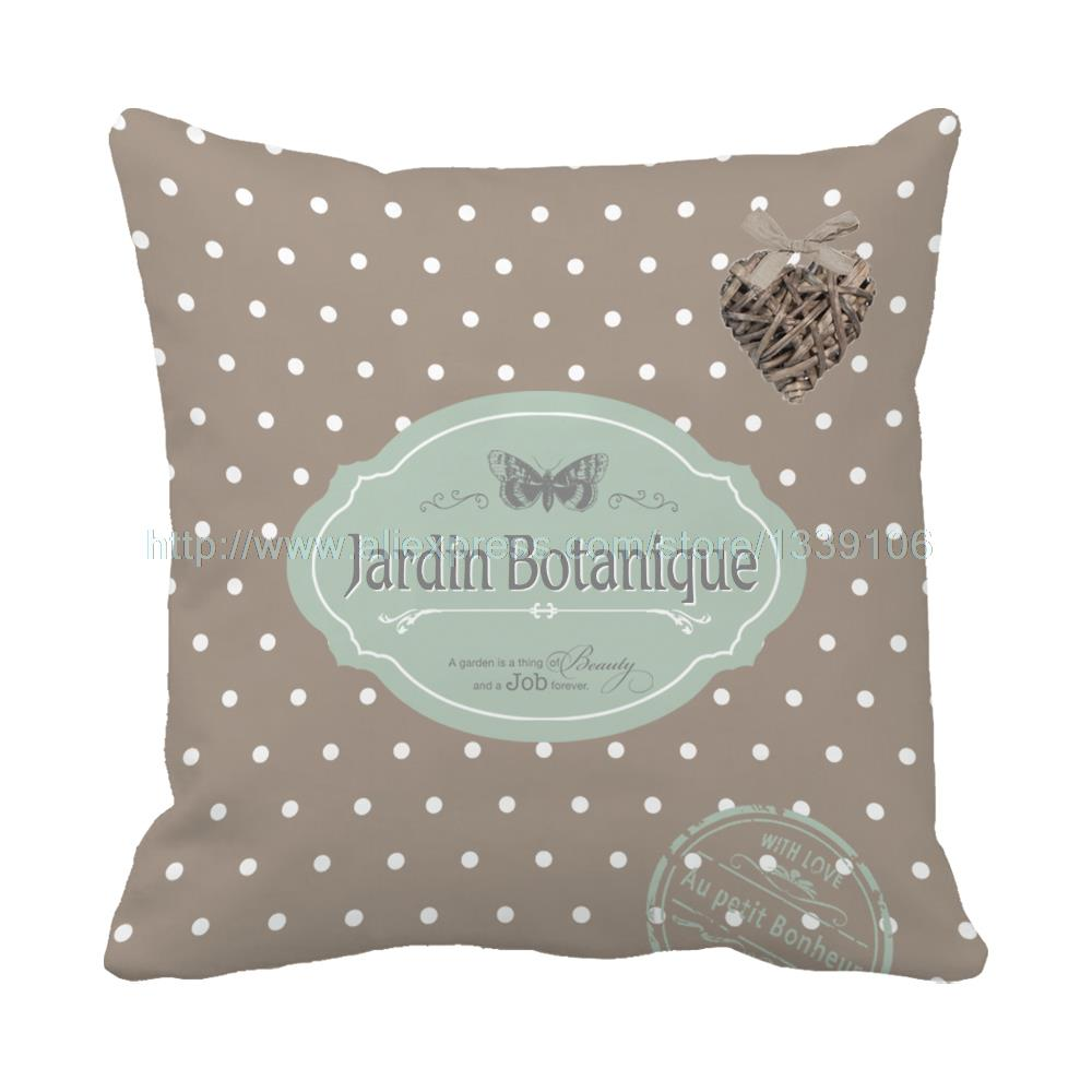 Jardin Botanique Style Print Custom Dot Brown Patio Cushion For Sofa Chair Home Decor Th ...